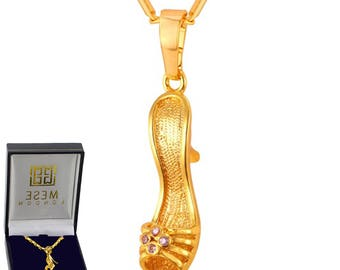 Cinderella's Shoe Necklace 18K Gold Plated Women's Pendant - Elegant Gift Box