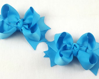 Turquoise Mini Hair Bows-Set of 2/Hair Accessory/Little Girl Hair Bow/Toddler Bow/Turquoise Hair Bow/Mini Hair Bows/Pig Tail/Piggy Tail Bows