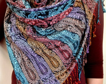 Beautiful Rainbow Pashmina Scarf, Scarf for Women, Multicolor Paisley Pashmina Shawl