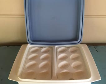 Vintage Tupperware Deviled Egg Tray Carrier Fits 16 Eggs Refrigerator Ready Serving Tray Picnic Gear Potluck Decor