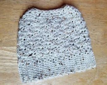 Soft Caron yarn Messy Bun Hat