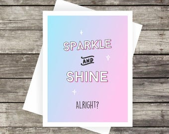 Sparkle and Shine Card | Blank Card, Note Card, Greeting Card, Thank you Card
