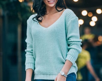 Mint Wool sweater womens Knitted sweater long sleeve Spring sweater Oversized sweater pink Autumn Sweater Spring sweater volume Knitting