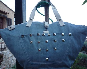 Silver square studded sky zipped jeans tote bag