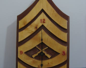 """SALE! - Military """"Confederate"""" Stripes Wall Clock - All Wood!"""
