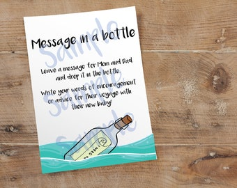 Message In a Bottle Activity // Nautical Theme // Baby Shower Game // 5 x 7 and 8.5 x 11 // Instant Digital Download PDF