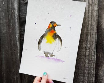 Penguin in a lilac snowstorm. A4 original watercolour painting.