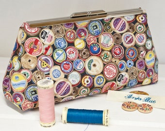 Clutch Bag - Purse - Hand Bag - Evening Bag - Prom Bag - Handmade bag featuring hundreds of assorted cotton reels and coordinated interior.