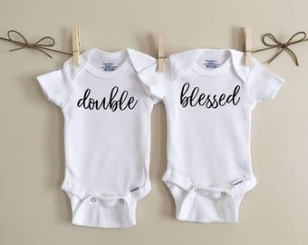 Double blessed onesie, twin onesies, baby onesie, twins