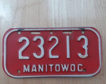 Vintage Manitowoc Wisconsin Bike License Plate Bicycle WI Cycling Tag