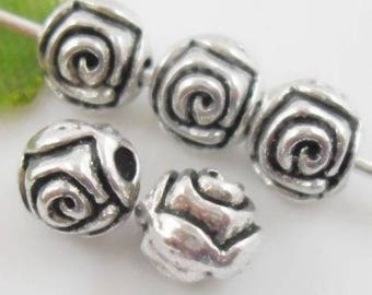 Set of 5 beads flower Motif round Silver - 5mm