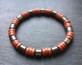 Men's Bracelet Red Jasper & Hematite Natural Stone Man's Bracelet