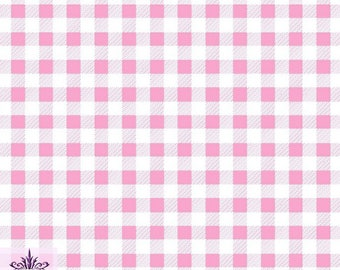 FS130_2 Pink Gingham Print On Jersey Stretchy Scuba Fabric Checked Square Tartan