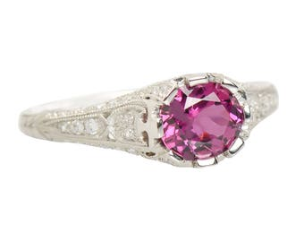 Vibrant Garnet Diamond Engagement Ring  || 17392