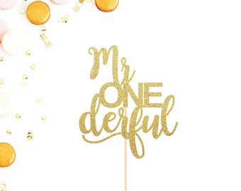 Mr ONEderful Cake Topper | First Birthday Cake Topper | Mr One Derful | Smash Cake Topper | Baby Boy's First Birthday | Birthday Decorations