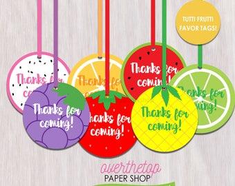 Tutti Frutti favor tags, Tuttu Fruity party favor tags