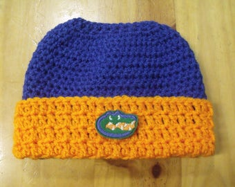 New Handmade Crochet Florida Gators Ponytail Messy Bun Hat Beanie