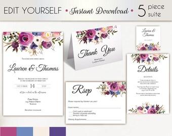 Wedding Invitation Template, Wedding Invitation Set, Lavender Blue Floral Wedding Invitation, Editable Wedding Invite, Instant Download,