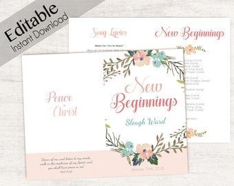 YW New Beginnings Program, Editable Program Young Women LDS Program, Instant Download,  New Beginnings editable program, 2018 Mutual Theme