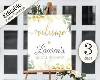 Welcome Sign Bridal Shower white ivory Template, Editable PDF, ANY EVENT, white ivory gold, Bridal Baby Wedding Baptism Birthday Shower Sign