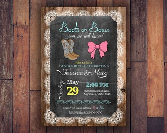 Boot's & Bow Gender Reveal Shower Invitation