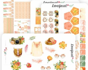 Boho planner sticker kit, bohemian stickers, stickers bohemian, planner sticker kit for use with ERIN CONDREN LIFEPLANNER™ and happy planner
