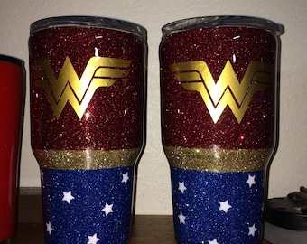 Wonder Woman Glittered Tumbler