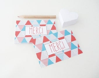 Set of 18 Scandinavian patterned thank you cards