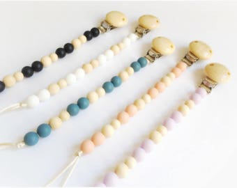 FLEETWOOD - Silicone Pacifier Clip - Wood Pacifier Clip, Soother Clip, Teething Clip, Toy Leash, Teether, BPA Free, Baby Shower, Chew Beads