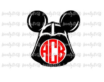 Instant Download SVG Studio3 - Darth Vader with Balloon Mickey - Silhouette Cricut - Monogram File