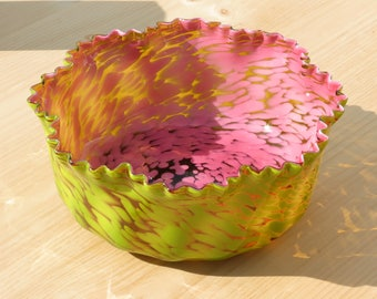 Bohemian Spatter Glass Hand Blown Crimped Edge Large Bowl