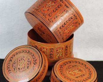 Myanmar Burma Laquer Box Container Set WM 102