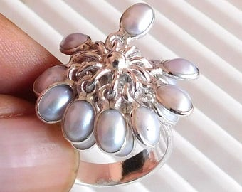 Natural Pearl Ring Cabochon Ring Sterling Silver Ring Pearl Oval Shape Ring Stone 925 Sterling Silver Ring Fresh Water Pearl Ring.Us8 E1250
