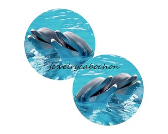 2 cabochons dauphin verre 12mm 14mm 16mm 18mm 20mm 25mm