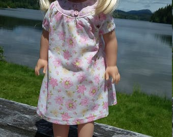 "14.5"" doll clothing - Pink slippers and a flowered nightie."