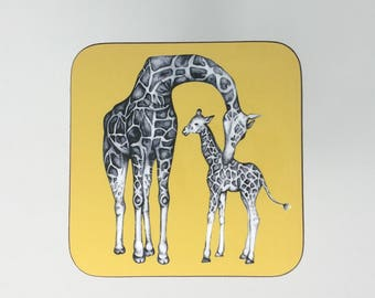 Hand Drawn Giraffe Coaster - Mustard Yellow - Giraffe Gift