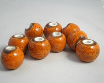 7 ceramics beads 14 mm : orange old