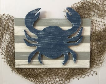 Crab Wall Art  Rustic Crab Decor