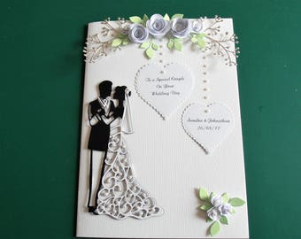 Handmade Personalised Wedding Card with Bride and Groom Quilled Roses