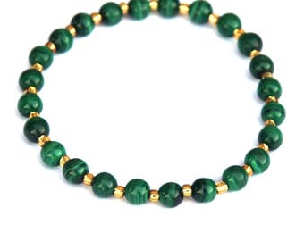 Malachite bracelet, Malachite jewelry, Stretch bracelet, gemstone bracelet, elastic bracelet, green and gold, Australian colours