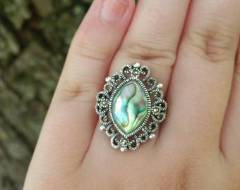 Vintage Sterling Silver Marcasite Abalone Ring