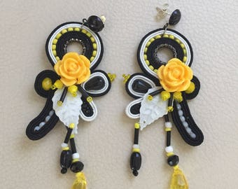 Yellow Rose Earrings