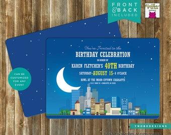 Cityscape, Evening, Night, Stars, Birthday, Invitation, Invite, Printable, 5x7, 4x6