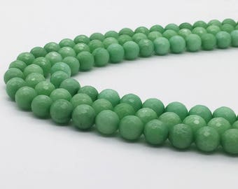 1Full Strand 10mm Green Jade Faceted Round Bead Wholesale Jade Gemstone For Jewelry Making