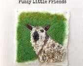 Wensleydale Sheep needle felted wool painting, sheep, wall hanging, nursery, gift, birthday, cards,