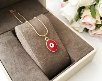 PROMO Tiny evil eye necklace, evil eye jewelry, 22K gold plated necklace, red oval evil eye necklace, blue evil eye necklace, nazar necklace
