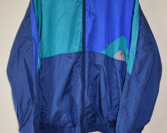 90s Vintage Blue/Green Colour-Block Windbreaker