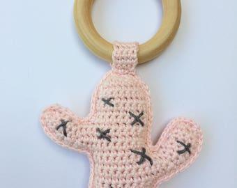 Cactus, Rattle Teether//crochet//baby shower gift//handmade//theethingring////cactus Crochet rattle baby gift//handmade