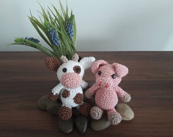 Amigurumi Patterns, Combo Discount, Babs the Pig and Bella the Cow