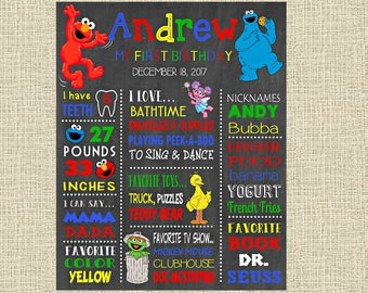 Sesame Street Birthday Chalkboard Poster - Elmo Cookie Monster Big Bird Wall Art design - First Birthday Poster Sign - Any Age